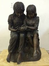 Large Bronze Sculpture - Two Girls Sitting & Holding a Bird - 3' Tall in The Woodlands, Texas