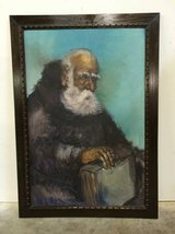 Original Oil Painting - Old Man With Book - Famed Artist Salvador Cabrera in The Woodlands, Texas