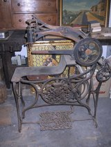 Saddler sewing machine, cast iron, lithographed lion and crown in Wiesbaden, GE
