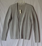 NWT-TALBOTS Champagne Cable Knit Open Front Metallic Cardigan Sweater Top size M in Joliet, Illinois