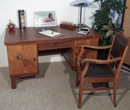Antique Burlwood Desk with Oak and Leather Chair in Ramstein, Germany