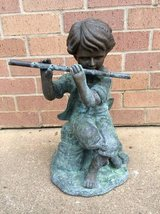 Bronze Sculpture Boy Playing Flute Fountain in Tomball, Texas
