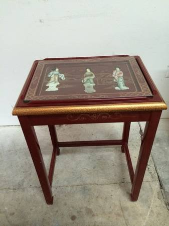 Mother Of Pearl Red Nesting Tables W/ Glass Tops