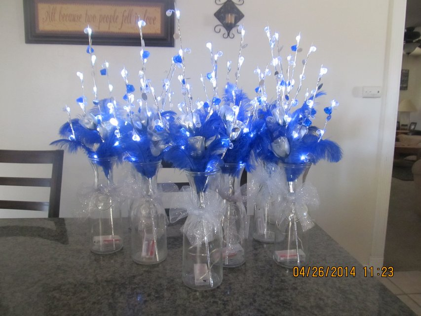 Quinceanera Centerpieces Blue 9 centerpieces available Quinceanera Centerpieces Blue